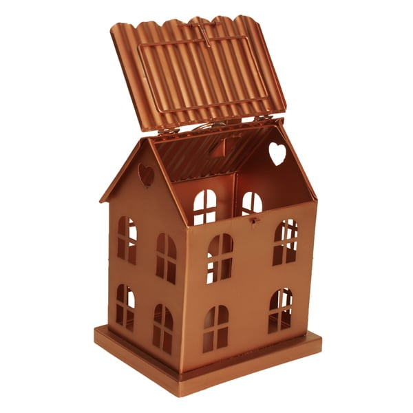"Metal ""House with Windows"" Luminaria, Small, Bronze"