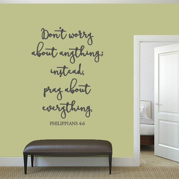 "Dont Worry About Anything Wall Decal - 35"" wide x 48"" tall"