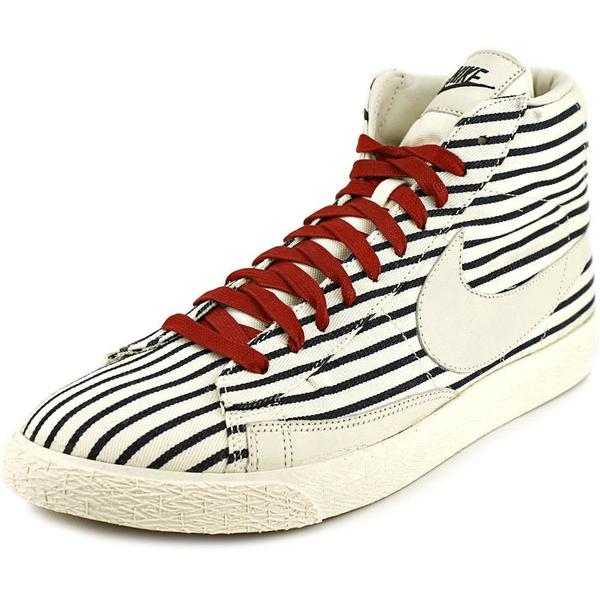 Nike Men's 'Blazer Mid Prm' White with Black Pinstripe Canvas/Manmade-material High-top Athletic Shoe