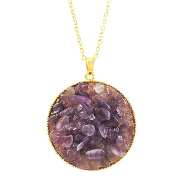 Luxiro Gold Finish Amethyst Semi-precious Gemstone Circle Pendant Necklace