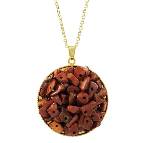 Luxiro Gold Finish Red Agate Semi-precious Gemstone Circle Pendant Necklace