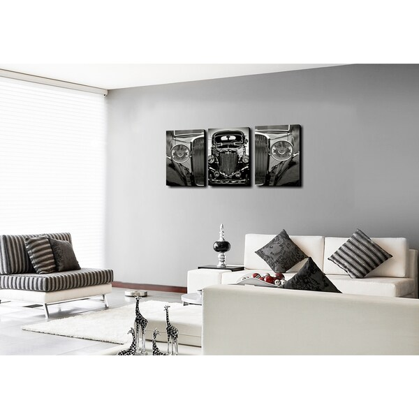 Furinno Senia Classic Car 3-Panel MDF Framed Photography Triptych Print, 42 x 20 inches