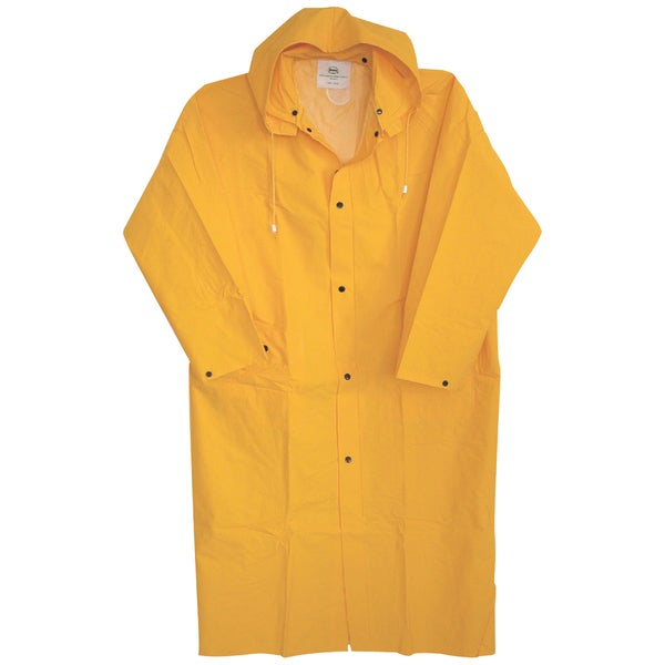"Boss Rainwear 3PR8000YX 48"" XL Yellow Lined PVC Raincoat"