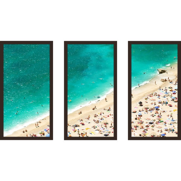 """Beach Please Xiii"" Framed Plexiglass Wall Art Set of 3"