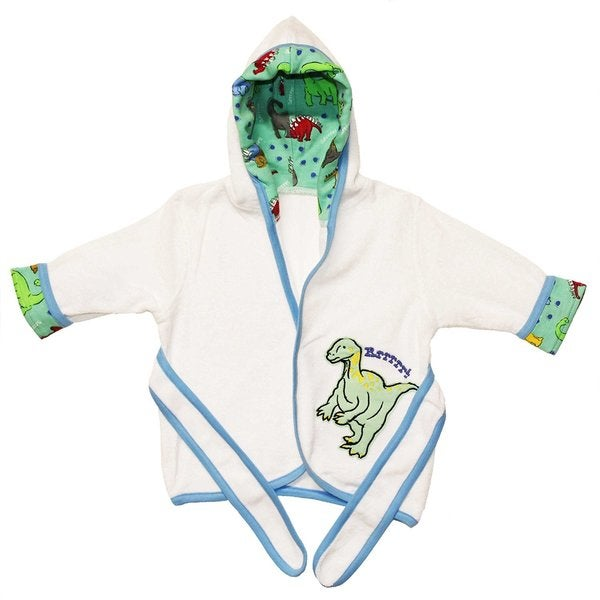 Funkoos Dinoland Baby Boy Organic Cotton Hooded Bathrobe