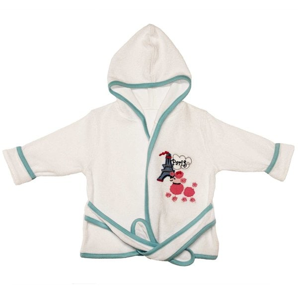Funkoos Infant/Baby Girl Paris Poodle Organic Baby Hooded Bathrobe
