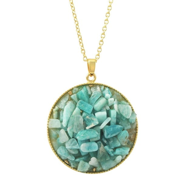 Luxiro Gold Finish Turquoise Semi-precious Gemstone Circle Pendant Necklace