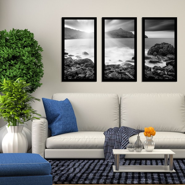 """Solace"" Framed Plexiglass Wall Art Set of 3"