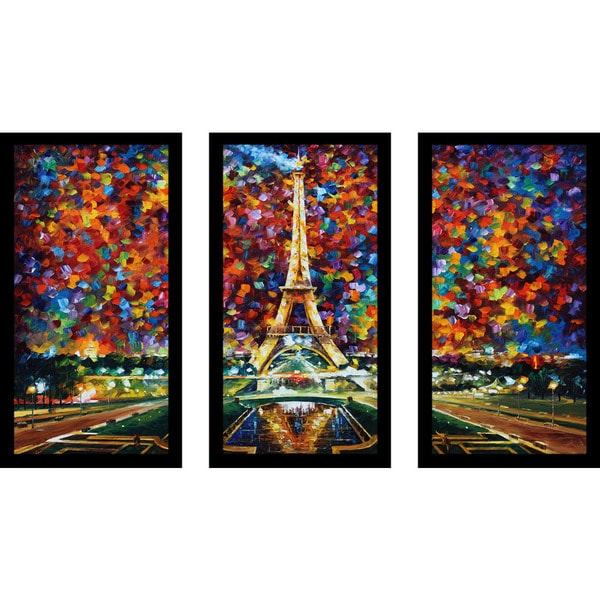 "Leonid Afremov ""Paris Of My Dreams"" Framed Plexiglass Wall Art Set of 3"