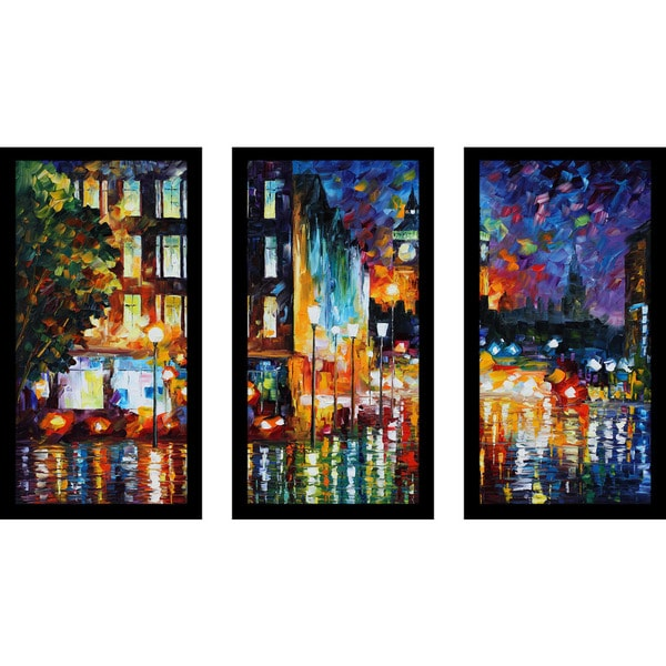 "Leonid Afremov ""Londons Lights"" Framed Plexiglass Wall Art Set of 3"