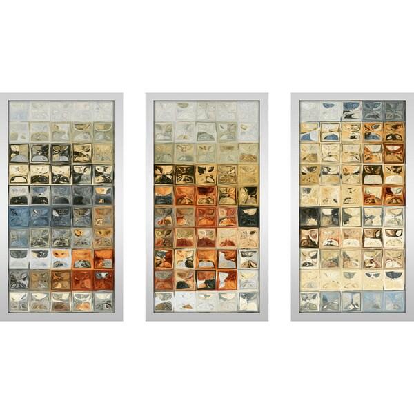 """Mark Lawrence """"Tile Art 14 2013 Max"""" Framed Plexiglass Wall Art Set of 3"""