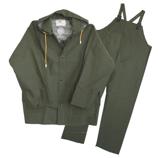 Boss Rainwear 3PR0300GG Large Green Lined Rainsuit 3 Piece