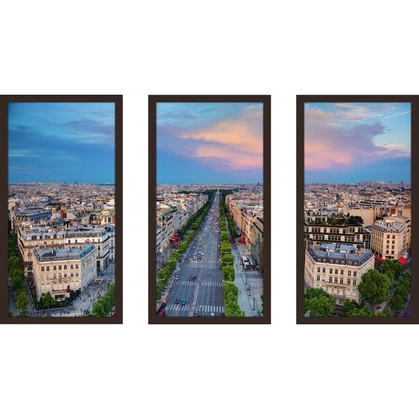 """""""Paris Rooftops 2"""" Framed Plexiglass Wall Art Set of 3"""