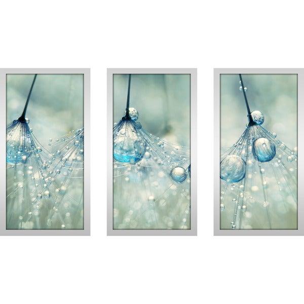 """Sharon Johnstone """"Feeling Blue But Dandy"""" Framed Plexiglass Wall Art Set of 3"""