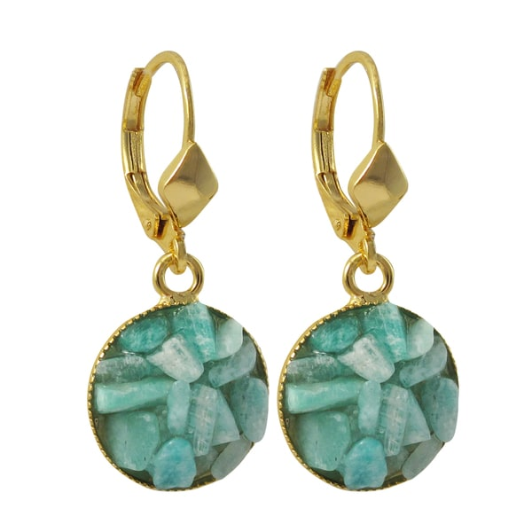 Luxiro Gold Finish Turquoise Semi-precious Gemstone Circle Dangle Earrings