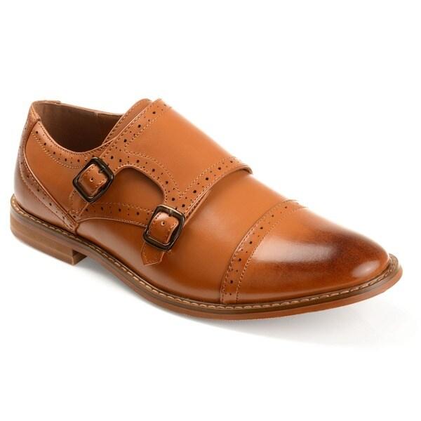 Vance Co. Men's 'Wayne' Faux Leather Cap Toe Double Monk Strap Dress Shoes 21240997