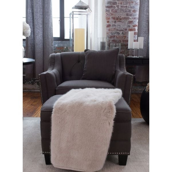 Elements Fine Home Furnishings Santa Monica Collection Grey Fabric Standard Chair and Storage Ottoman 2-piece Set