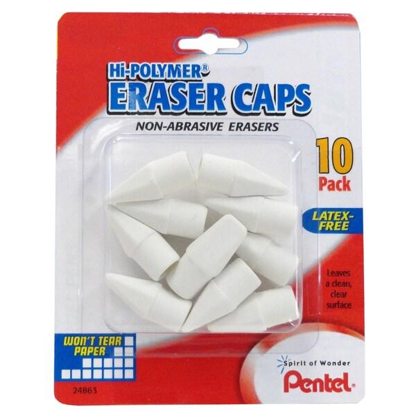 Pentel ZEH02BP10 White Eraser Caps 10 Count