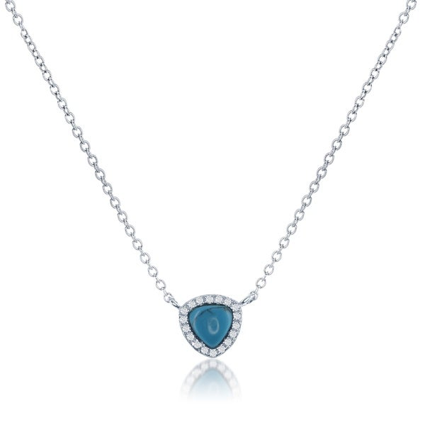 La Preciosa Sterling Silver Natural Stone and CZ Triangle Necklace