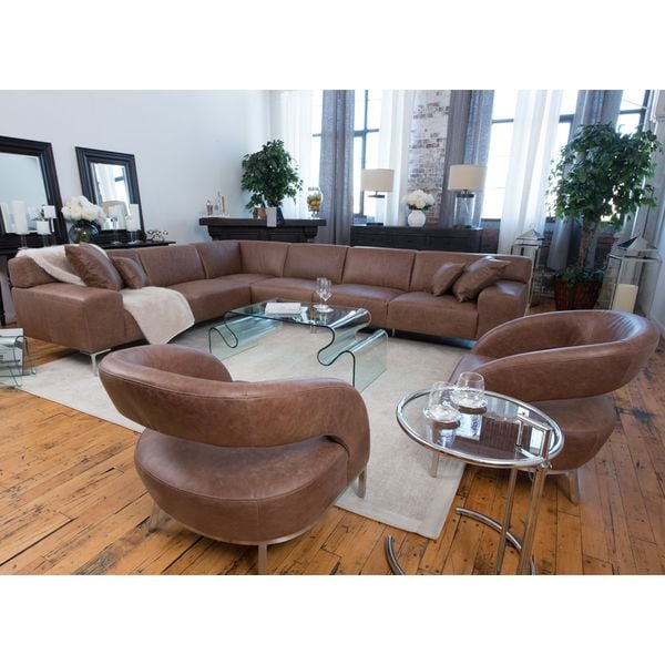 Industrial Chestnut Brown Top Grain Leather Large Sectional and Chairs