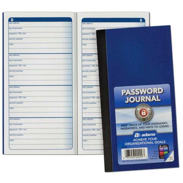 "Adams APJ99 6.25"" X 3.25"" Password Journal"