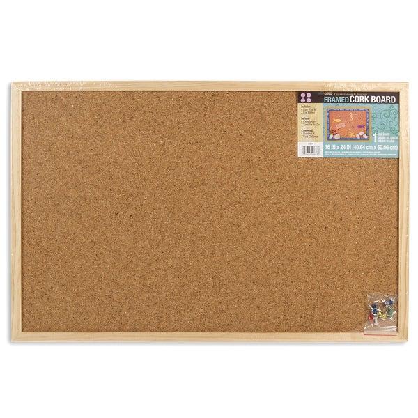 "Darice 9172-64 16"" X 24"" Wood Frame Cork Memo Board"
