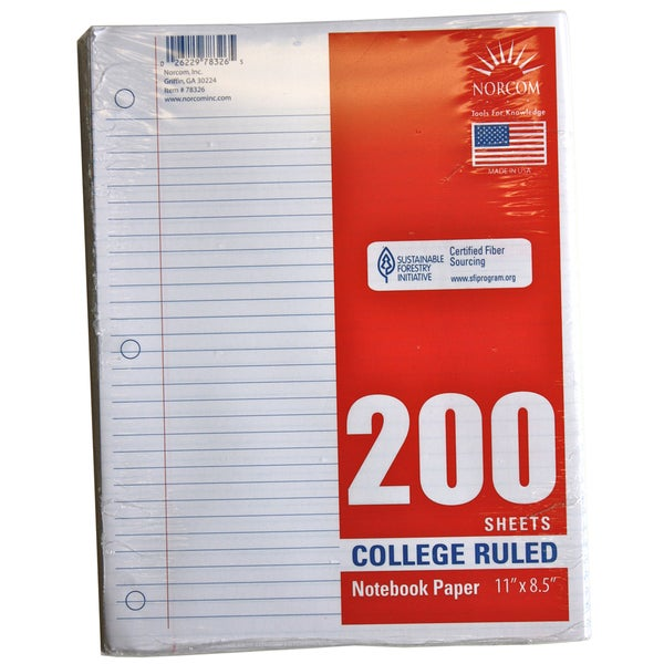 "Norcom 78326-24 11"" X 8"" College Ruled Looseleaf Paper 200 Count"