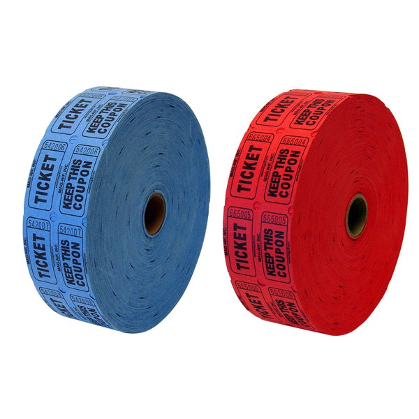 Magnif 04632 Double Ticket Rolls Assorted Colors 2,000 Count