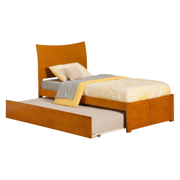 Atlantic Soho Caramel Latte Panel Twin-size Bed with Trundle Bed