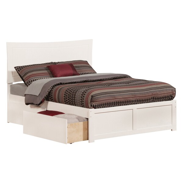 Atlantic Kids' Metro White Full Flat-panel Footboard Platform Bed with 2 Urban Bed Drawers 21241617