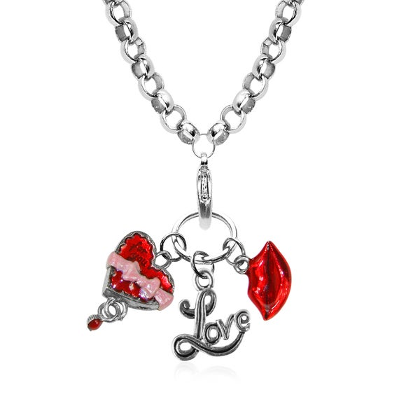 Valentines Day Charm Necklace in Silver