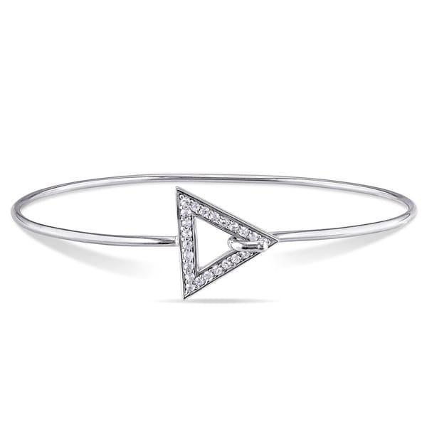 Sterling Silver White Sapphire Bangle Bracelet 21241740