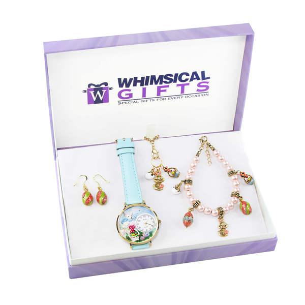 Easter Gold 4-piece Watch-Bracelet-Necklace-Earrings Jewelry Set