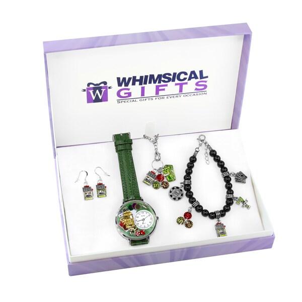 Casino Silver 4-piece Watch-Bracelet-Necklace-Earrings Jewelry Set