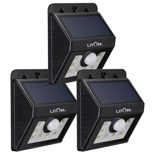 Super Bright Black Solar-powered Wireless Security 8-LED Motion Sensor Light (Pack of 3) 21242050