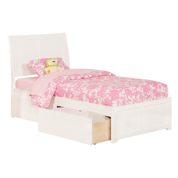 Portland White Panel Twin XL-size Storage Bed