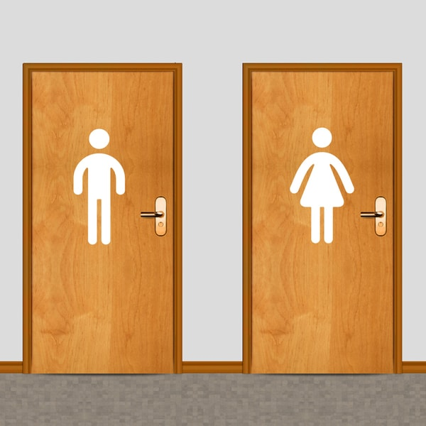 Large Men's & Womens's Restroom Wall Decals