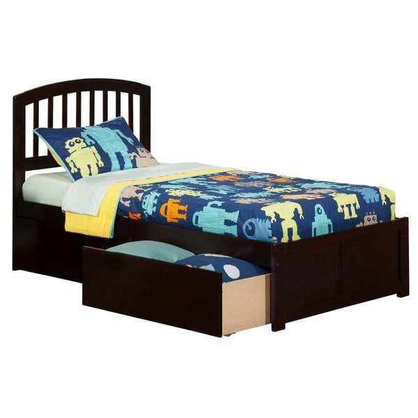 Atlantic Kids' Richmond Espresso Twin Flat-panel Footboard Platform Bed with 2 Urban Bed Drawers