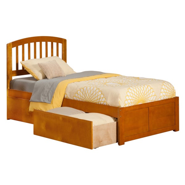 Atlantic Richmond Caramel Latte Twin XL-size Flat-panel Foot Board with 2 Urban Bed Drawers