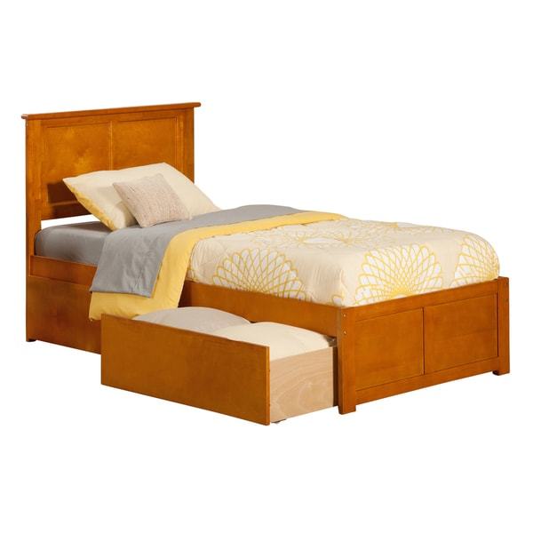Madison Caramel Latte Twin Flat Panel Foot Board Bed with Urban Bed Drawer
