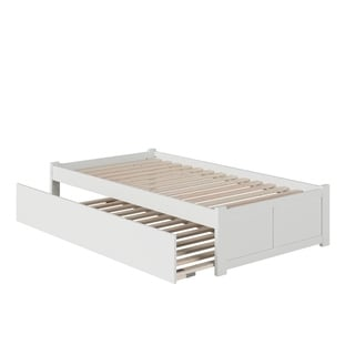Concord Twin Platform Bed with Flat Panel Foot Board and Twin Size Urban Trundle Bed in White
