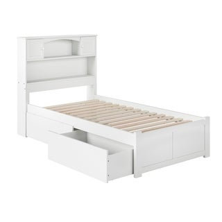 Newport Twin Platform Bed with Flat Panel Foot Board and 2 Urban Bed Drawers in White