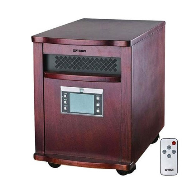 Optimus Quartz Infrared Heater Wood Cabinet with Remote Control