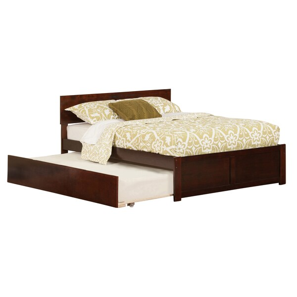 Orlando Walnut Full Flat Panel Foot Board Bed with Urban Trundle