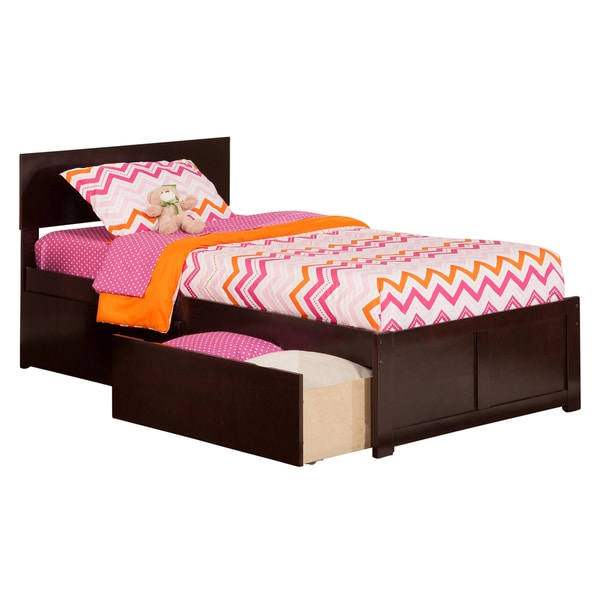 Atlantic 'Orlando' Espresso Panel Twin XL Storage Bed