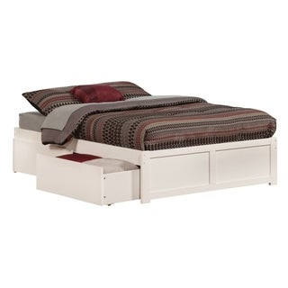 Concord Full Platform Bed with Flat Panel Foot Board and 2 Urban Bed Drawers in White