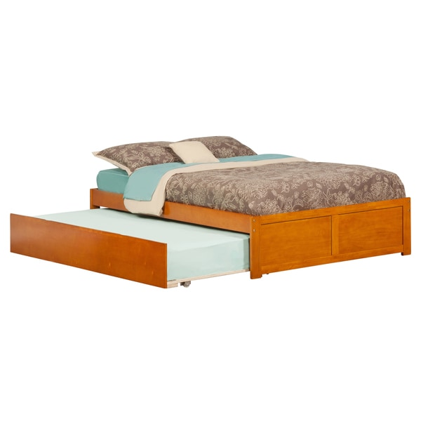 Concord Caramel Latte Full-sized Flat-panel Bed with Footboard and Urban Trundle