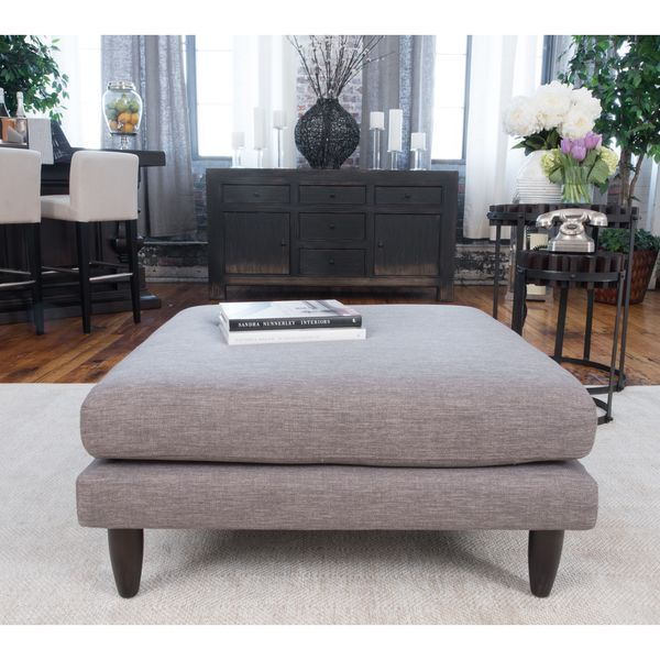 Elements Fine Home Furnishings Retro Collection Taupe Fabric Cocktail Ottoman
