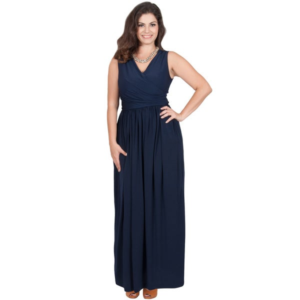 KOH KOH Women's Plus Size Sleeveless Crossover Wrap V-Neck Pleated Maxi Dress XX-Large in Navy Blue(As Is Item)