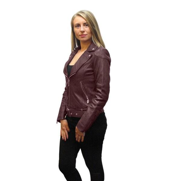 BCBG Max Azria Miley Burgundy Leather Belted Jacket
